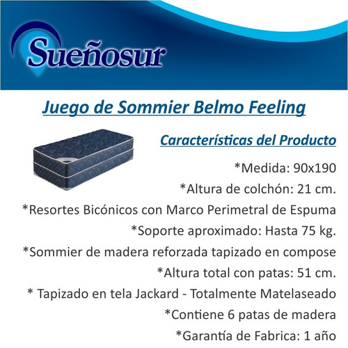 colchon y sommier resortes belmo feeling 1 plaza 1/2 90x190
