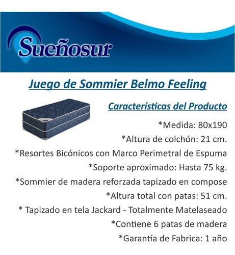 colchon y sommier resortes belmo feeling 1 plaza 80x190