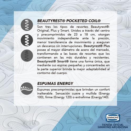 colchón y sommier simmons beautyrest smart 2 plazas 190x140