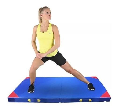 colchoneta doble plegable gym, yoga compacta con manillas