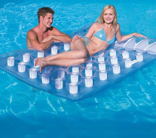 colchoneta inflable 2 plazas con posa vaso  2 personas