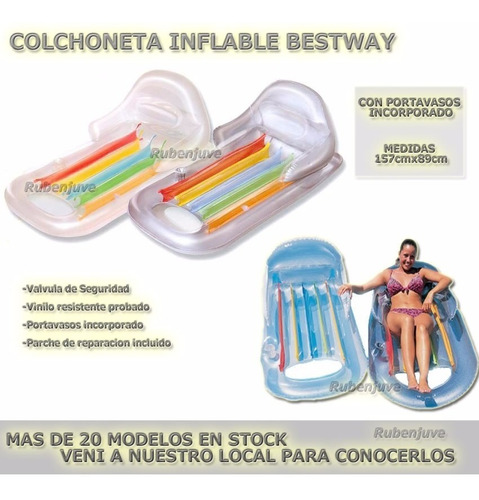 colchoneta inflable bestway con respaldo y posavasos