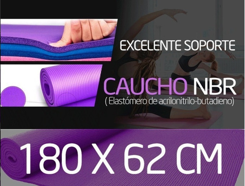 colchoneta mat yoga 10mm calidad a1 + sujetador + bolso