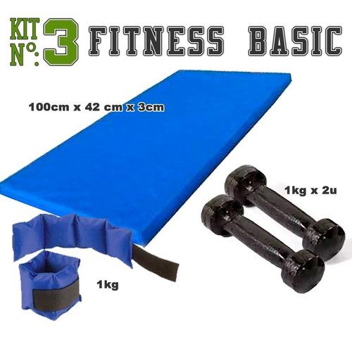 colchoneta + tobilleras 1 kg +  mancuernas 1 kg. kit fitness