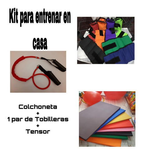 colchoneta+tobilleras + banda elastica con manijas reforzada
