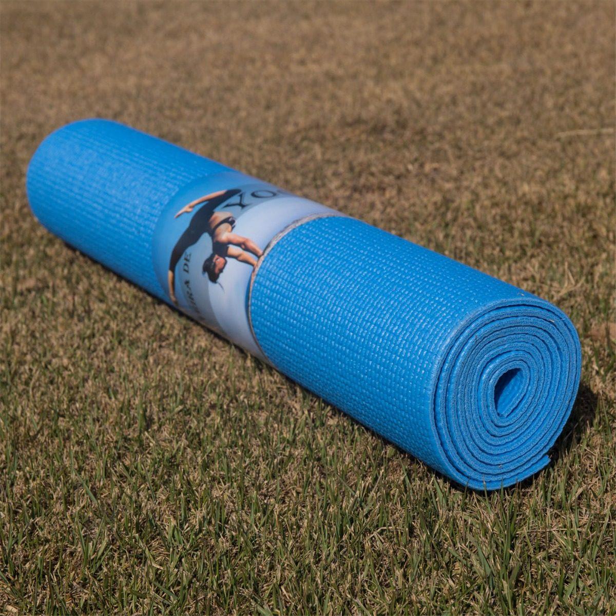 colchonete esteira tapete yoga mat azul pilates pvc +1 bolsa. Carregando  zoom. 5d2bfb3233ce