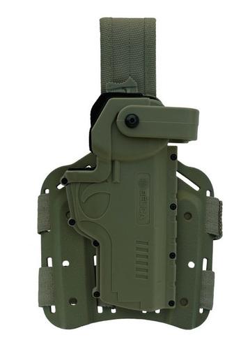 coldre perna polímero hammer ii canhoto verde - frete grátis