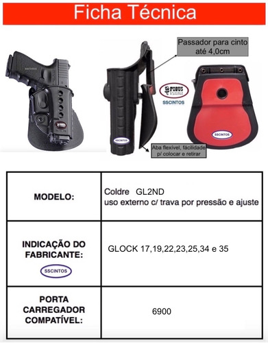 coldre polimero fobus gl2nd  glock 17 e 19 not airsoft