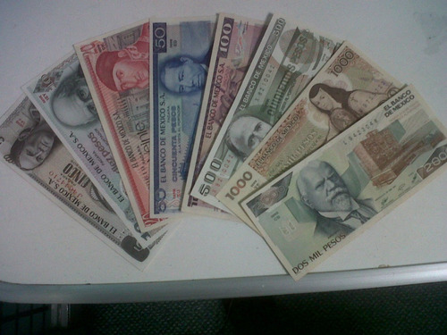 Colección 12 Billetes Mexicanos De $1.00 A $10,000 Pesos ...