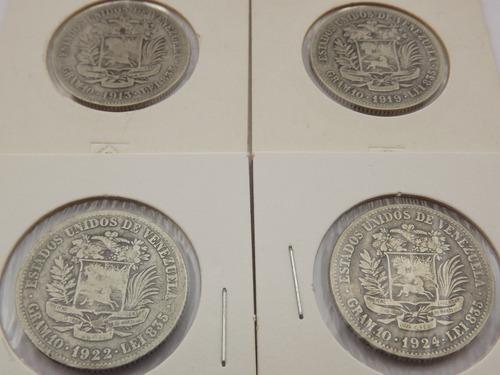colección 19 monedas de plata. 2 bs bolívares (1900 a 1965)