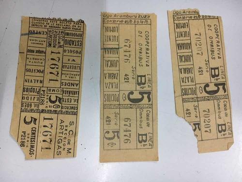 colección 3 boletos cooperativa de omnibus