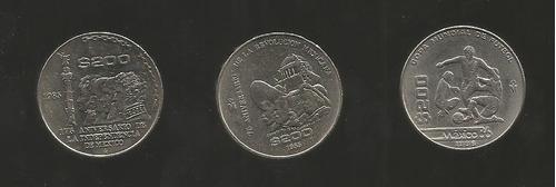 coleccion 3 monedas mexicanas de 200 pesos niquel