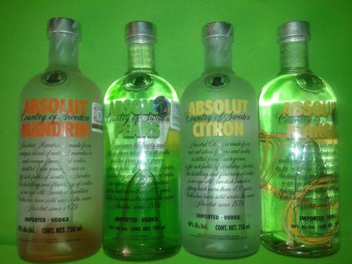 coleccion absolut 3/4 vodka liquido cristal dj bar decora