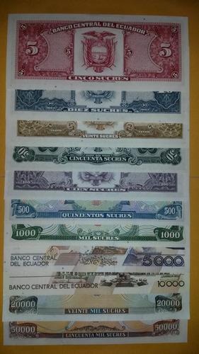 coleccion de 11 billetes unc de ecuador! 5 - 50.000 sucres