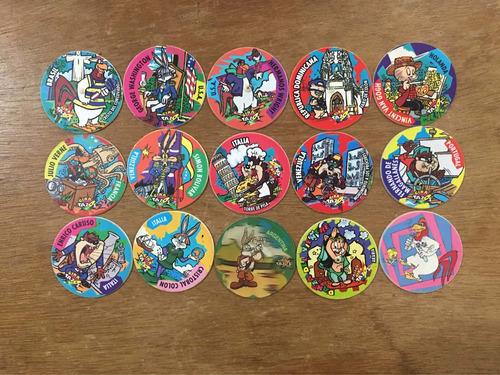 coleccion de 15 giratazos tazos sin repetir de looney tunes