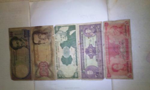 coleccion de 5 billetes antiguos