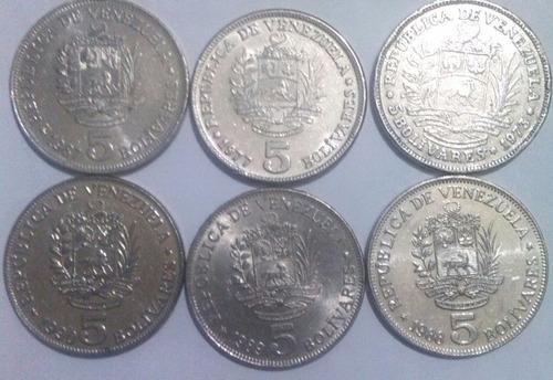 colección de 5 bolívares 1973, 1977, 1978, 1988, 1989, 1990