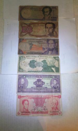 colección de 6 billetes antiguos