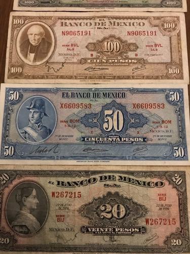 colección de billetes de 1 a 1000 de 1969 a 1977