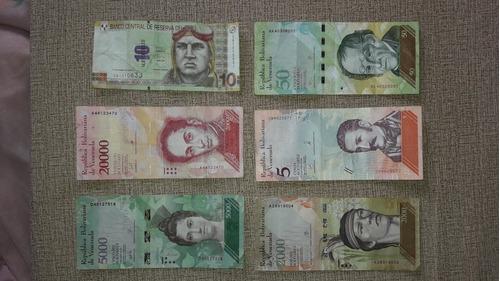 colección de billetes venezolanos 10 soles peruanos.