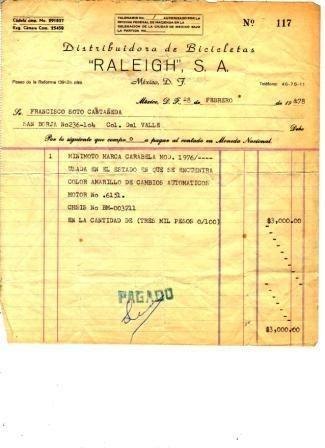 coleccion de documento antiguo papel minimoto carabela 1976