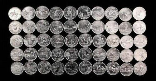 coleccion de monedas de 0.25 ctvs. de los 50 estados usa