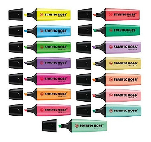coleccion stabilo boss 15pzs pastel y neon + envio