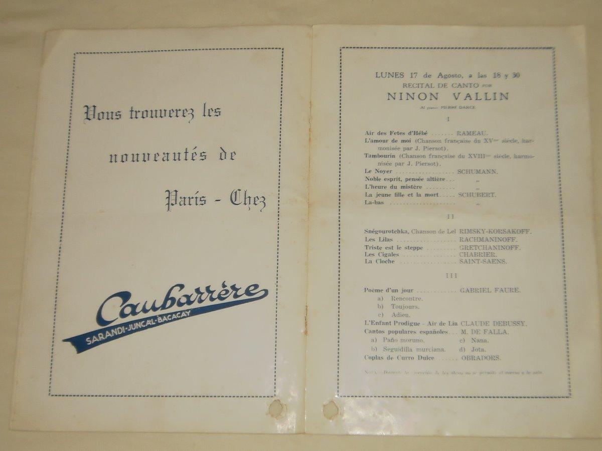 Coleccion Uruguay Programa Teatro Solis Ninon Vallin 30000