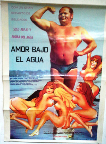 coleccionable afiche película años 70 amor bajo el agua