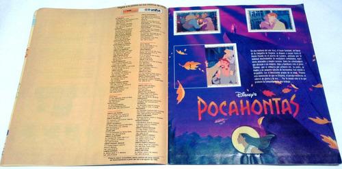 coleccionable álbum de barajitas pocahontas panini años 90