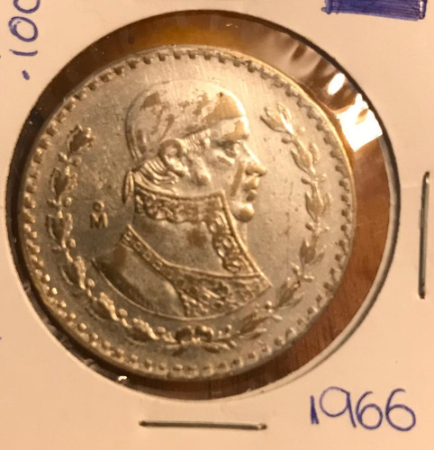 coleccionable moneda 1. peso morelos  plata .100  1966