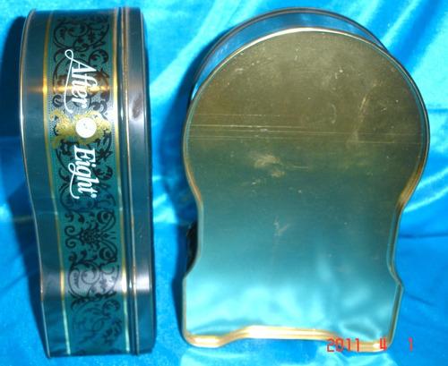 coleccionable par  cajas de lata de chocolates mints 3280f