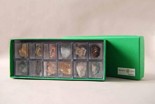 colecciones en papel: caja forrada con 12 minerales