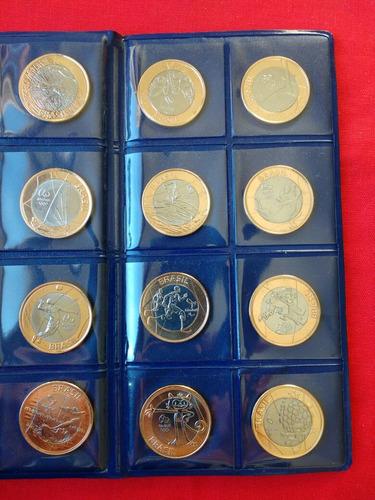 coleção 17 moedas das olimpíadas com a bandeira