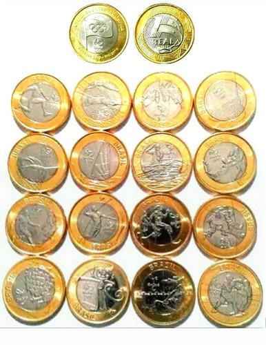 coleção 17 moedas das olimpíadas com entrega da bandeira