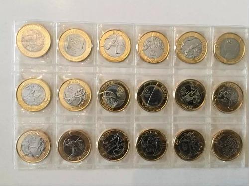 coleção 17 moedas das olimpíadas - originais com bandeira fc