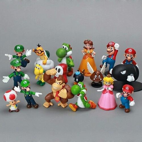 coleção 18 bonecos miniaturas super mario bros pronta entreg
