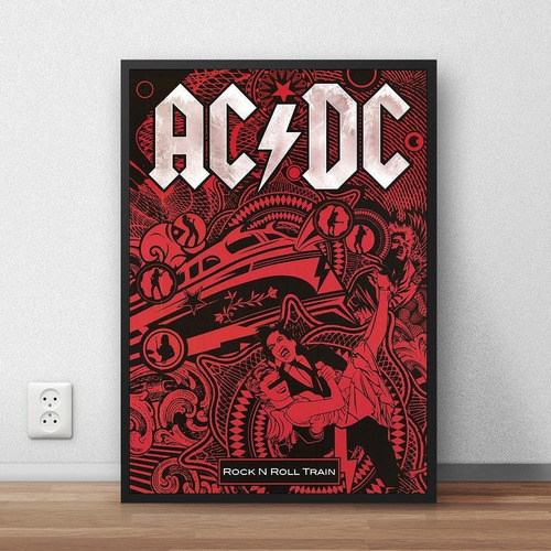 coleção ac/dc quadros decorativos com moldura a4 premium