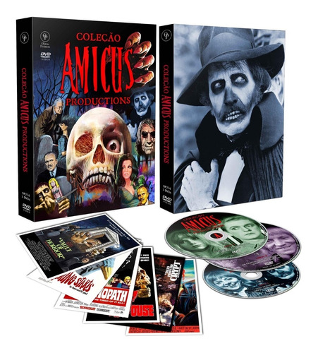 coleção amicus productions - box com 3 dvds 6 filmes - cards