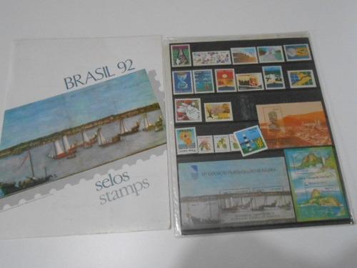 coleção anual álbum  de selos do brasil - 1992