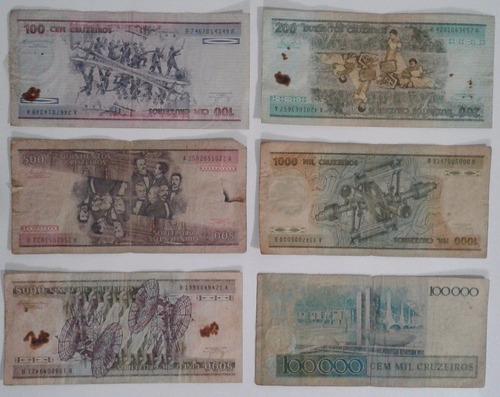 coleção, cédulas moedas