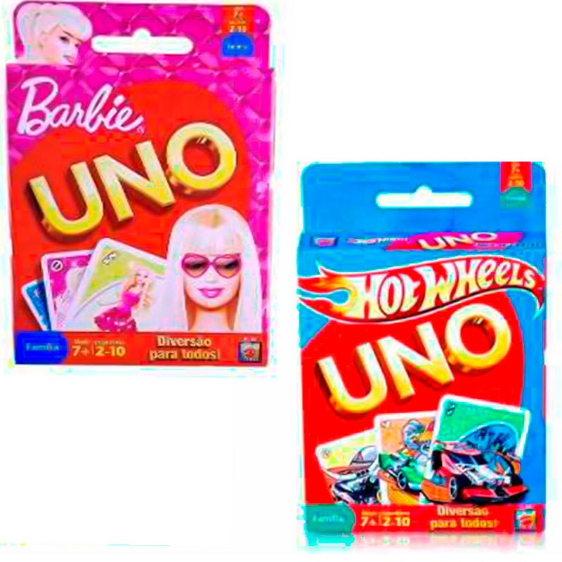 7ad4cbf377 Coleção Com Jogos  1 Uno Hot Wheels E 1 Uno Barbie Mattel - R  11