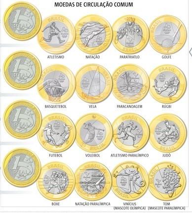 coleção completa 16 moedas 1 real olimpicas  rio 2016