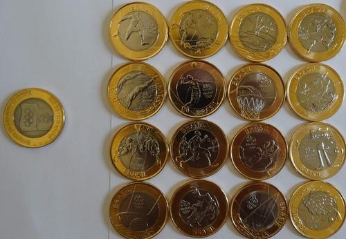 coleção completa 17 moedas das olimpíadas c bandeira - fc
