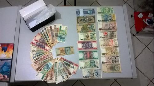 coleção de cédulas novas e notas antigas dinheiro brasileiro