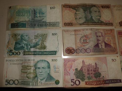 coleção de notas de dinheiro antigas lote com 45
