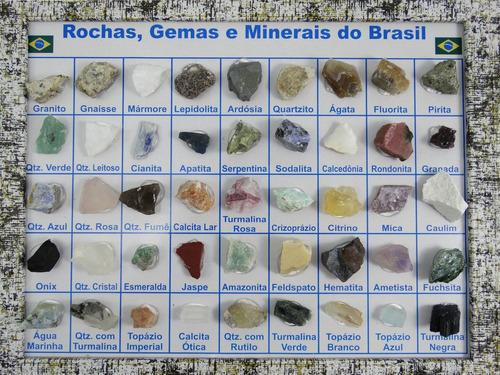 coleção de rochas e minerais do brasil 45 pedras + brinde