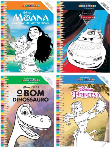 coleção disney - 12 livros p/ colorir e atividades 10x15,5cm