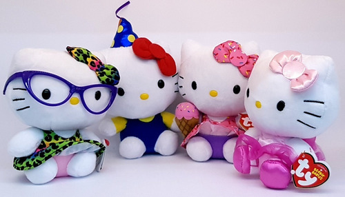 coleção hello kitty com 4 pelúcias - by sanrio - original