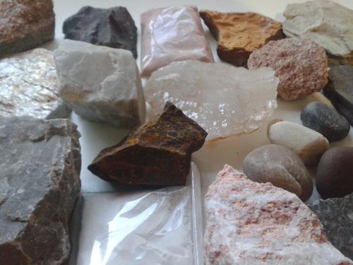 coleção/ kit de rochas e minerais com 30 unidades geologia